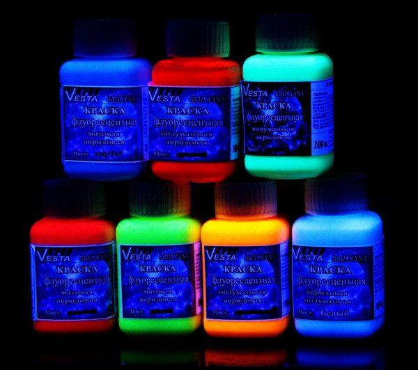 """Набор флуоресцентных красок """"Vesta Бриллиант"""" 7 цветов по 100 мл"""